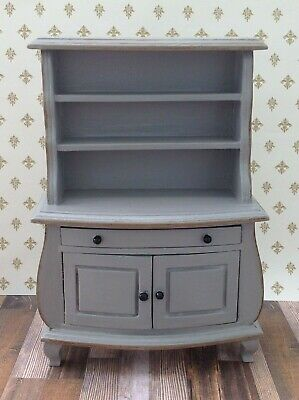 Miniature Dollhouse Dining Buffet Hutch Hand Painted Gray 1:12 Scale by Cyndi