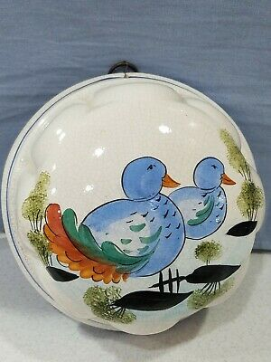 Vintage ABC Bassano Ceramic Mold Wall Hanging Pottery Blue Birds Made in Italy