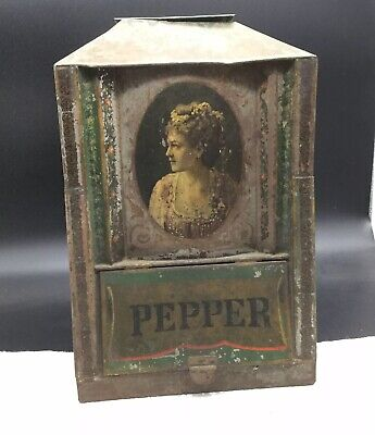 Pepper Knickerbocker Centennial Tin Portrait Antique Store Display Bin Box
