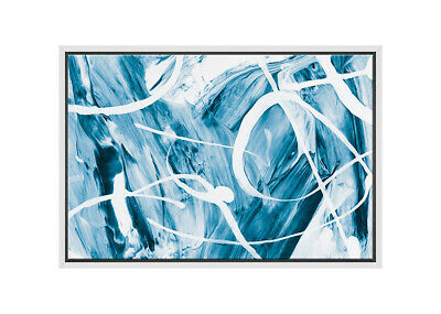 Blue White Abstract Painting   Canvas Wall Art Print Stretched Framed Picture...
