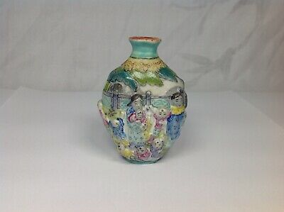 19th Chinese Famille Rose Mould Hundred Boys Snuff Bottle