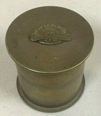 Ww2 Trench Art Container - Shell Casings, Italy Ord Marks Rising Sun Badge