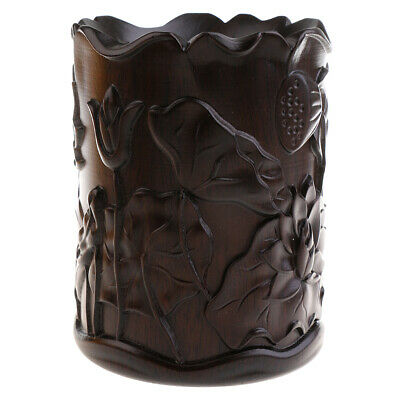 Ebony Chinese Brush Pot Stationery Display Storage Container Lotus Pattern