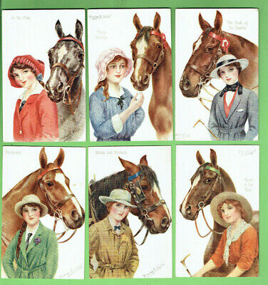 #D47.   Six(6)  Early  Girls With Horses  Gale & Polden Postcards