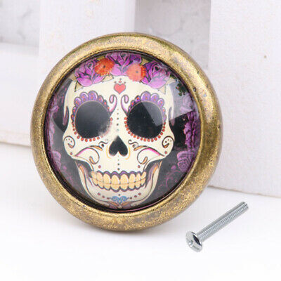 Skull Pattern Door Dresser Drawer Cabinet Cupboard Pull Knob Handle Decor #07