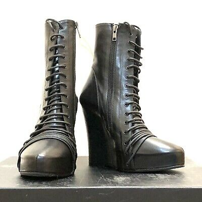 **THE ONE* *RARE*ANN DEMEULEMEESTER ANKLE WEDGE LACE  BOOTS Sz 36.5