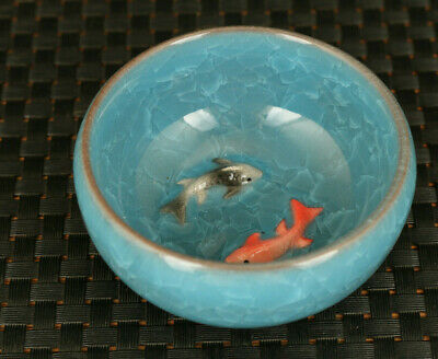 exquisite chinese porcelain Handmade double fish bowl tea cup decoration gift