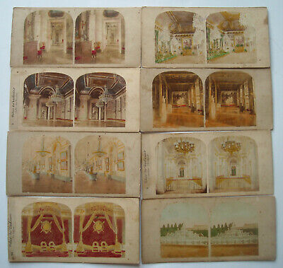 8 x  VINTAGE ANTIQUE COLOURED STEREOSCOPE  SCOPE CARDS