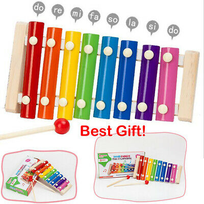 8 Notes Baby Kid Wooden Xylophone Piano Musical Music Instrument Toy Xmas Gift n