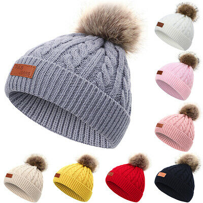 Cable Knitted Bobble Hat Plain Kids Boy Girl Beanie Hats Warm Winter Fur Pom Cap