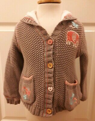 Girls George Asda, Thick Knitted Cardigan Fleecy Lined, UK Size Age 3-4 Years.
