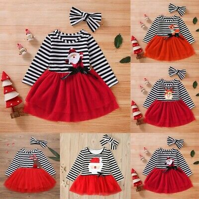 Toddler Kids Baby Girls Christmas Deer Striped Tulle Dress+Headband Outfit Set F
