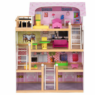 Kids Wood House Playset Doll Cottage Dollhouse w/ Furniture Children Gift Toy