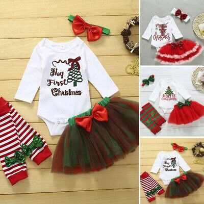 Newborn Infant Baby Girl Christmas Xmas Tree Romper Skirt Tutu Hairband Outfit F