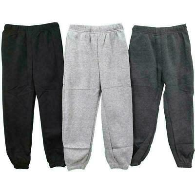 Boys Kids Plain Basic PE School Jogging Sports Tracksuit Bottoms Joggers Fleece