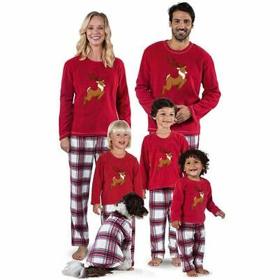 Family Matching Christmas Elk Pyjamas Xmas Nightwear Pajamas PJs Sets Adult Kids