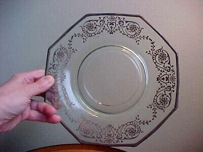 Art Deco Glass Plate, Fancy Sterling Silver Overlay Design