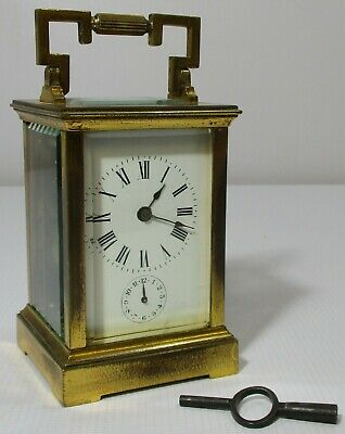 Vintage Brass Carriage Case Mantle Clock Alarm & Bell with Original Key