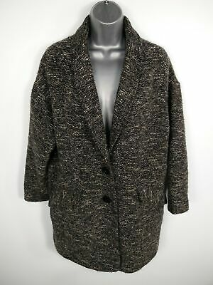 Womens Topshop Black/Grey/White Mix Button Up Single Breasted Overcoat Size 10