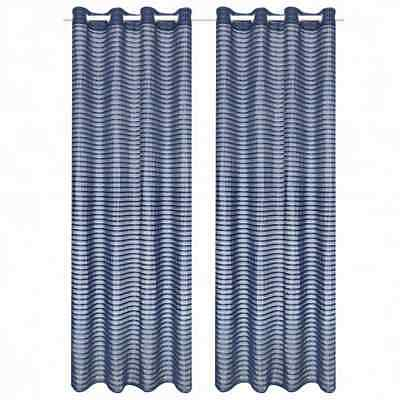 vidaXL 2x Woven Striped Sheer Curtains 140x175cm Blue Home Window Drape Blind