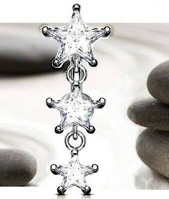 Urban Tempo - Belly Bars Glamorous and Sparkly Top Drop Stars Dangly Belly Bar