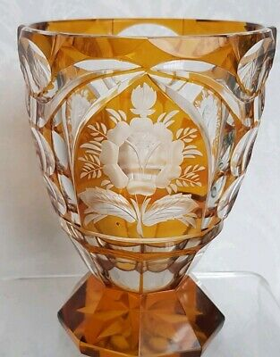 Antique Moser Bohemia Amber Cut To Clear Crystal Vase Floral Engraved Pattern
