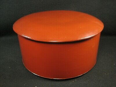 ANTIQUE JAPANESE MEIJI ERA c.1880 RED LACQUER LIDDED RICE BOWL SERVING CONTAINER