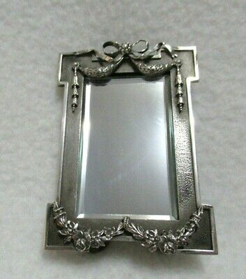 Antique Sterling Silver Hallmarks Frame French Style Desk Mirror Beveled Glass
