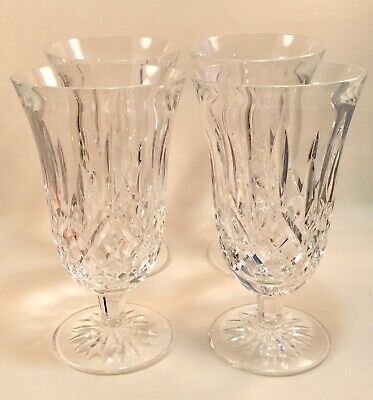 "4 Waterford Crystal Lismore Stemmed Footed Iced Tea Glasses 6 1/2"" Goblets"