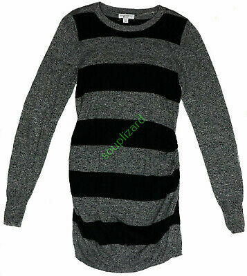 New NWT Women's Maternity Clothes Black Gray Stripe Sweater Size Large