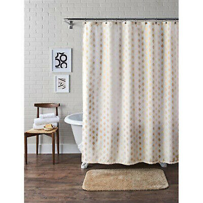 BRAND NEW Colordrift Polyester White and Indigo Patterned Helix Shower Curtain