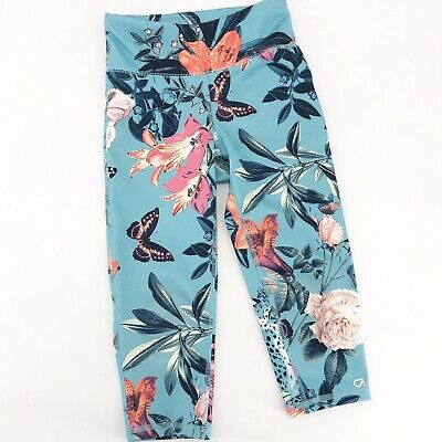Girl's Gapfit Gap Fit Sz S Floral Butterfly Crop Leggings Blue Green Multicolor