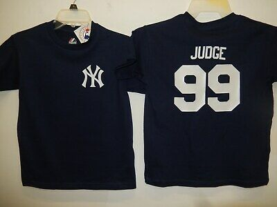 New York Yankees MLBPA AARON JUDGE Pin Stripes Youth Boys Cotton Tee Shirt Navy