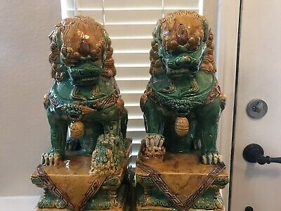 A Large Pair Of Antique Chinese Ceramic Porcelain Foo Dog Lions Statue