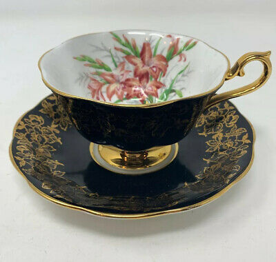 Royal Albert Black Gold Teacup & Saucer Lillies Bone China