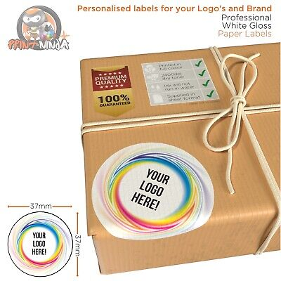 Personalised custom business company name 37mm round gloss logo stickers labels
