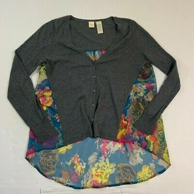Little Yellow Bird Small Women's Floral Splice Sweater Gray Anthropologie