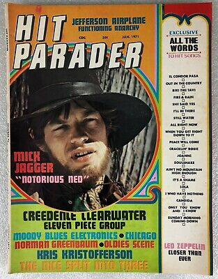 "Vintage Hit Parader Magazine - January 1971 - Mick Jagger ""Notorious Ned"""