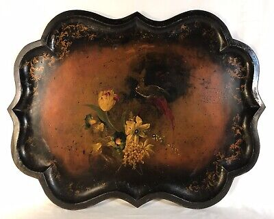 """Antique 19th C English Hand Painted Flowers & Pheasant Tole Tray 33"""" x 25"""""""