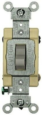 Leviton 1224-SGY 20 Amp, 120/277 Volt, Toggle 4-Way AC Quiet Switch, Heavy Duty