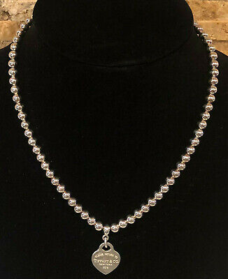 "Tiffany & Co. 17"" Sterling Silver Balls & Heart Necklace"
