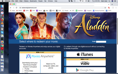 ** ALADDIN 2019 Live Action ** DVD + Digital Ultra HD 4K Copy - Disney