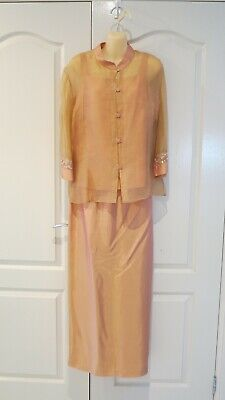 Anthea Crawford Size 14 Peach Coloured 3 Piece Suit Mother of Bride Groom Formal