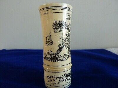 Antique Chinese - Oriental Carved Bovine Bone Dice Shaker with Black Etching