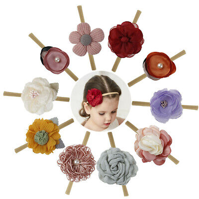 10Pcs/Set Baby Girl Headbands Flower Fabric Hair Clips Elastic Hair Bands Cute