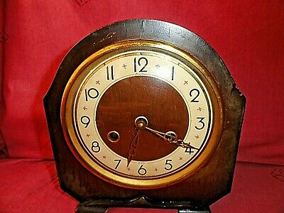 Vintage Bentima Great Britain  Wooden Heavy 2 kg Table Clock 21 x 20 x 10 cm.