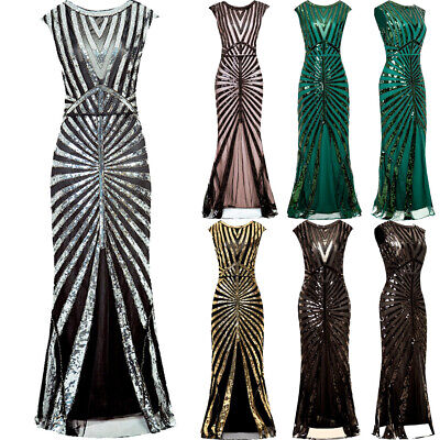 Vintage 1920s Flapper Dress Great Gatsby Cocktail Party Sequins Maxi Dresses UK
