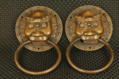 Asian old bronze Handcarved pair lion exorcise evil spirits door holder decorate