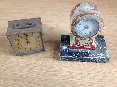 Antique Table Clocks Metal Painted To Repair Or Spare Parts Ref 93