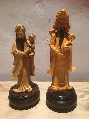 Vintage Chinese Resin Statues On Wooden Base x 2